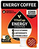 VitaCup Dark Roast Coffee Pods with Vitamin B1, B5, B6, B9, B12 & D3 Infused for Energy & Metabolism in Recyclable Single Serve Pod Compatible with K-Cup Brewers Including Keurig 2.0, 16 Count