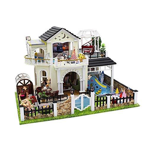 DWLXSH Casa de muñecas DIY miniatura de habitaciones Set-madera del arte de la construcción de madera-regalos de edificio modelo Juguetes-mini casa de muñeca-creativo cumpleaños for los muchachos de l