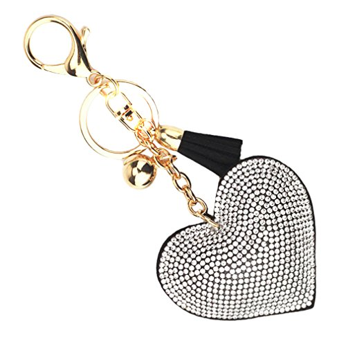 HENGSONG Heart Shape Tassel Keychain With Rhinestones Charm Accessory Automotive Cellphone Handbags Bag Pendant Keyring Gifts ( Black White )