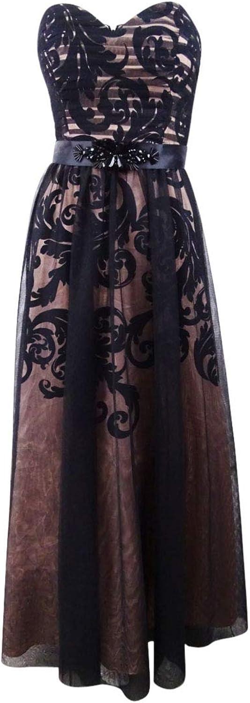 Betsy & Adam Womens Strapless FullLength Evening Dress
