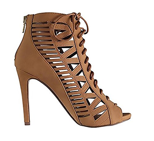 Beston BA83 Women's Back Zipper Front Lace Up Stiletto Heel Cut Out Dress Shoes MVE Shoes , mve shoes tinley tan size 8