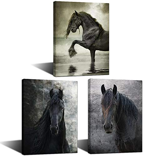 KLVOS Horses Picture Animals Artwork Prints 3 Panels Vintage Horse Portrait Graphic Wall Art on Canvas Stretched and Wooden Framed Ready to Hang for Home Decoration 12'x16'x3 pcs