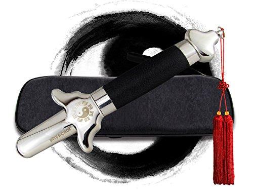 PhysCool - Palo de Taichi chino extensible con borla roja de lujo y bolsa de piel sintética,...