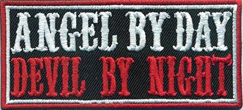 ANGEL by Day, Devil by Night, Biker Rocker Heavy Metal Patch Aufnäher Abzeichen