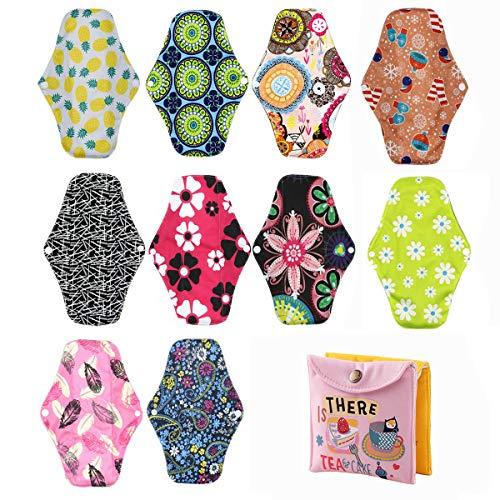 10 pièces Serviette hygiénique réutilisable en tissu de bambou Protège-slip pour femme (25,5 x 18 cm)