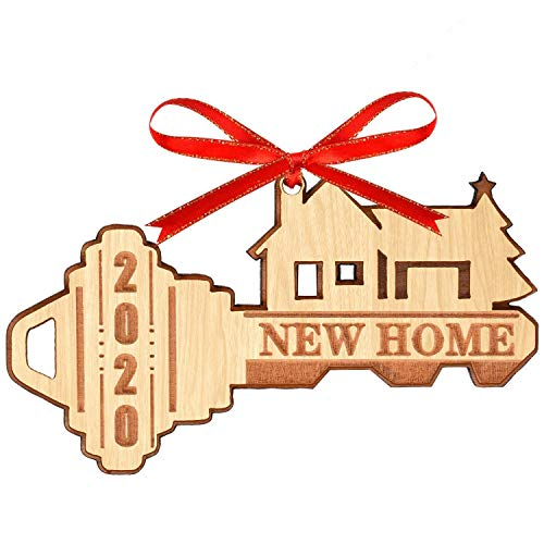 WAVEJOE 2020 Christmas Ornament Wooden Decoration Double Layer New Home with Gift Box 1 Pack