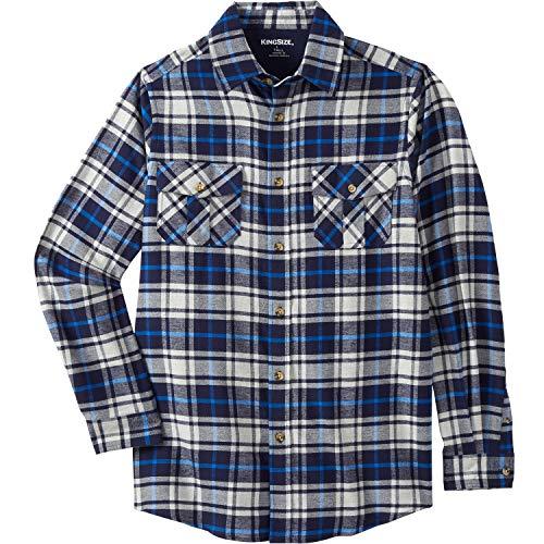 KingSize Men's Big & Tall Plaid Flannel Shirt - Tall - 6XL, Navy Plaid