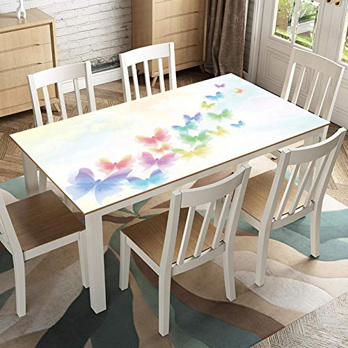Tablecloth Waterproof, Anti-scald, Oil-proof, Disposable, Soft Plastic Glass, European-style PVC Tablecloth, Heat-insulating Pad Mat, Zhuang Shengmeng Butterfly, 90 * 150cm