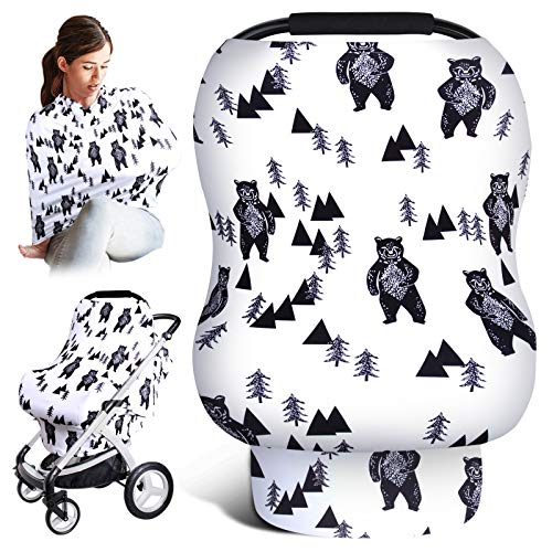 Car Seat Covers for Babies, Baby Carseat Canopy, Newborn Nursing Cover for Breastfeeding, Stretchy Carseat Cover for Boys and Girls, Multiuse-Nursing Scarf, High Chair Cover, Baby Shower Gifts(Bear)