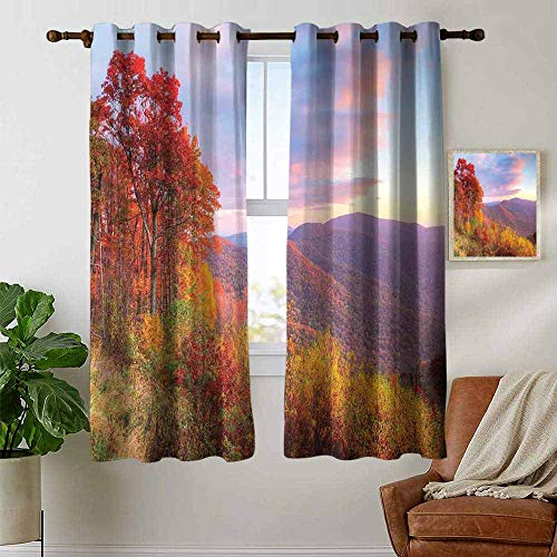 pattern curtains Mountain,Sunrise Stunning Sky Colors Autumn Falls at South Western Village Scenery,Orange Blue Green,Living Room and Bedroom Multicolor Printed Curtain sets 52'x63'