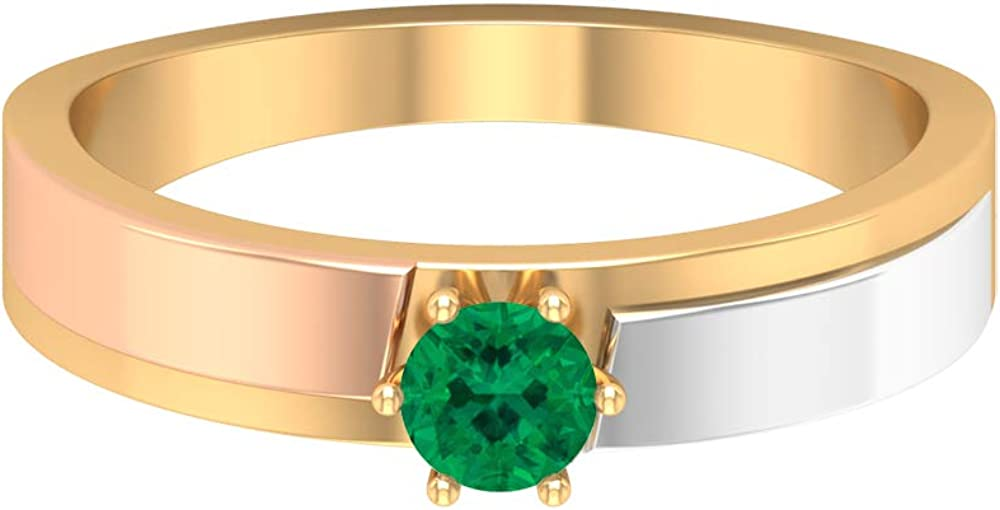 October Birthstone - Solitaire 4.00 MM Round Shaped Green Tourmaline Ring, Three Tone Wedding Band, Simple Gold Band Ring (AAA Quality), 14K Gold