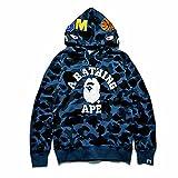 New Mens Bape A Bathing Ape Hoodie Shark Head Camo Hoodie Coat Long Sleeve Sweatshirt Jacket (Blue, M, m)