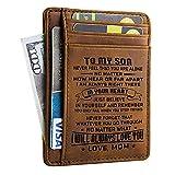 Doptika Engraved Leather Front Pocket Wallet (W - 002 - Mom to Son) Gift for Him for Men