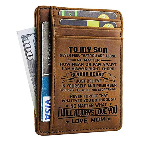 Doptika Engraved Leather Front Pocket Wallet (W - 002 - Mom to Son) Gift...