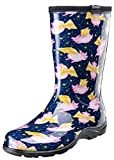 Sloggers 5019PFBL08 Pigs Fly Blue sz 8 Wo's Waterproof Comfort Boot, 8