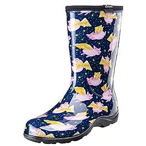 Sloggers 5019PFBL07 Pigs Fly Blue sz 7 Wo's Waterproof Comfort Boot, 7