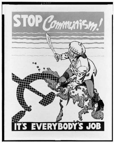 INFINITE PHOTOGRAPHS Foto: Detener el comunismo, el trabajo de todos, la democracia, Anti, carteles políticos, Filipinas, 1920