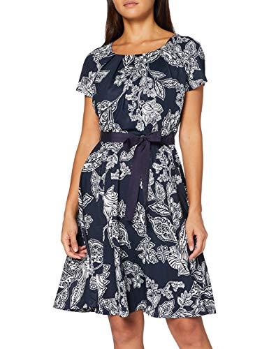 TAIFUN Damen Gewirke Kleid, Mehrfarbig (Dark Ocean Patterned), XXL