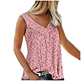 Tank Tops Damen Sommer Sexy ärmellos V-Ausschnitt Oberteil Tshirt Drucken Loose Mode Basic Shirts Pullover Sweatshirt Locker Alltag Tunika Hemd