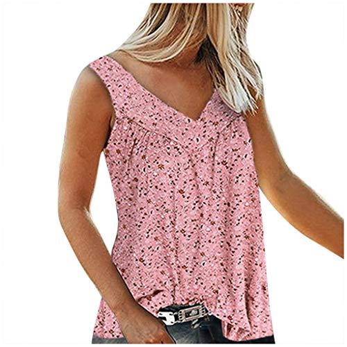 VEMOW Camiseta sin Mangas de Chaleco para Mujer con Cuello en V Tops Blusa Camisa Casual Suelta, Camisa Suelta Floja Ocasional Verano Blusa Camisetas Tirantes Mujer Moda Tops de Fiesta(B Rosa,XXL)