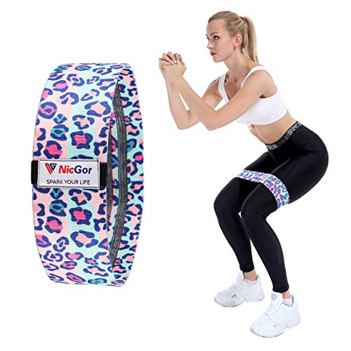 NicGor Fabric Leopard Resistance Workout Bootie Band for Legs and Butt, Non-Slip Stretch Women Exercise Band, Squat Training Hip Band