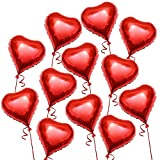 THE TWIDDLERS Globo de Helio en Forma de Corazón. 45 CM, Globos Románticos Rojos, día de San Valentín. Regalo de San Valentín Amor y Decoración (Paquete de 12 Unidades)