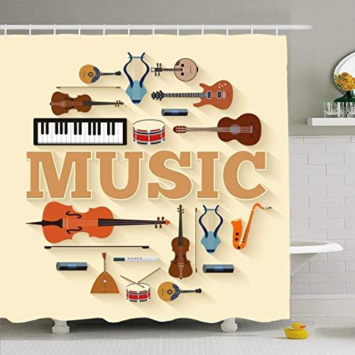 JoneAJ Instrumento Musical Círculo o Producto Infografía Festival Saxofón Plantilla Web Concepto Textura Microfibra Baño Cortina de Ducha Tejido de poliéster 71x71 Pulgadas