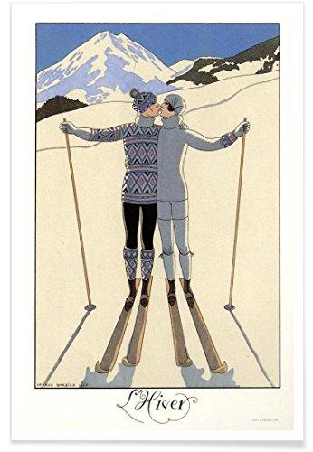 "JUNIQE® Paare Ski & Snowboard Poster 30x45cm - Design ""L'Hiver Barbier"" entworfen von Vintage Art Archive"