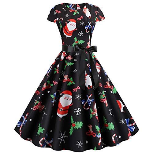 yazidan🌿 Damen Weihnachtspullover Weihnachtsdeko Cocktailkleid Pullover Kleider Sexy Spitze Kleidung Weihnachtsmann Elch Schlitten Druchen Party Swing Festlich Kleid