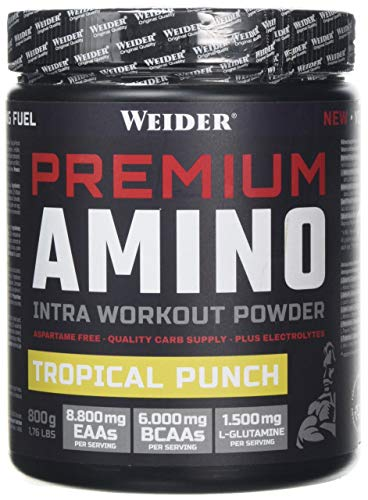 Weider Premium Amino Powder, Tropical, Intra Workout, 8,000mg EAA's, 6,000mg BCAA's, Glutamine, Plus Electrolytes, 800g