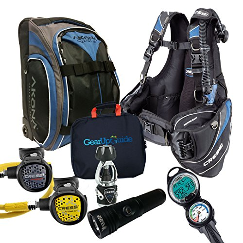 Cressi Travelight 15 LBS Scuba Diving Package Carry On Reg Dive Computer 7 Blue-Reg-Bag Kraken Dive Torch Men-M