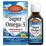 Carlson - Super Omega-3, 2600 mg Omega-3s, Omega-3 Liquid, Wild Caught Omega-3 Fish Oil Liquid Supplement, Omega-3 Supplement, Heart Health, Lemon, 100 mL (3.3 Fl Oz)