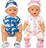 iBayda 2 Doll Clothes Outfits for 43 cm New Born Baby Dolls/ 15 inch Dolls/American Girl Dolls