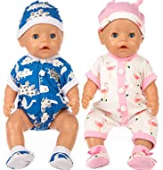 Doll Clothes for for 43 cm New Born Baby Dolls/ 15 inch Bitty Baby Dolls Package Include: 2*Jumpsuit+2pairs*Shoes+2*Hats Doll is Not Include Package Effective Child Development: Develop your child's imagination, encourages nurturing, role play, and i...