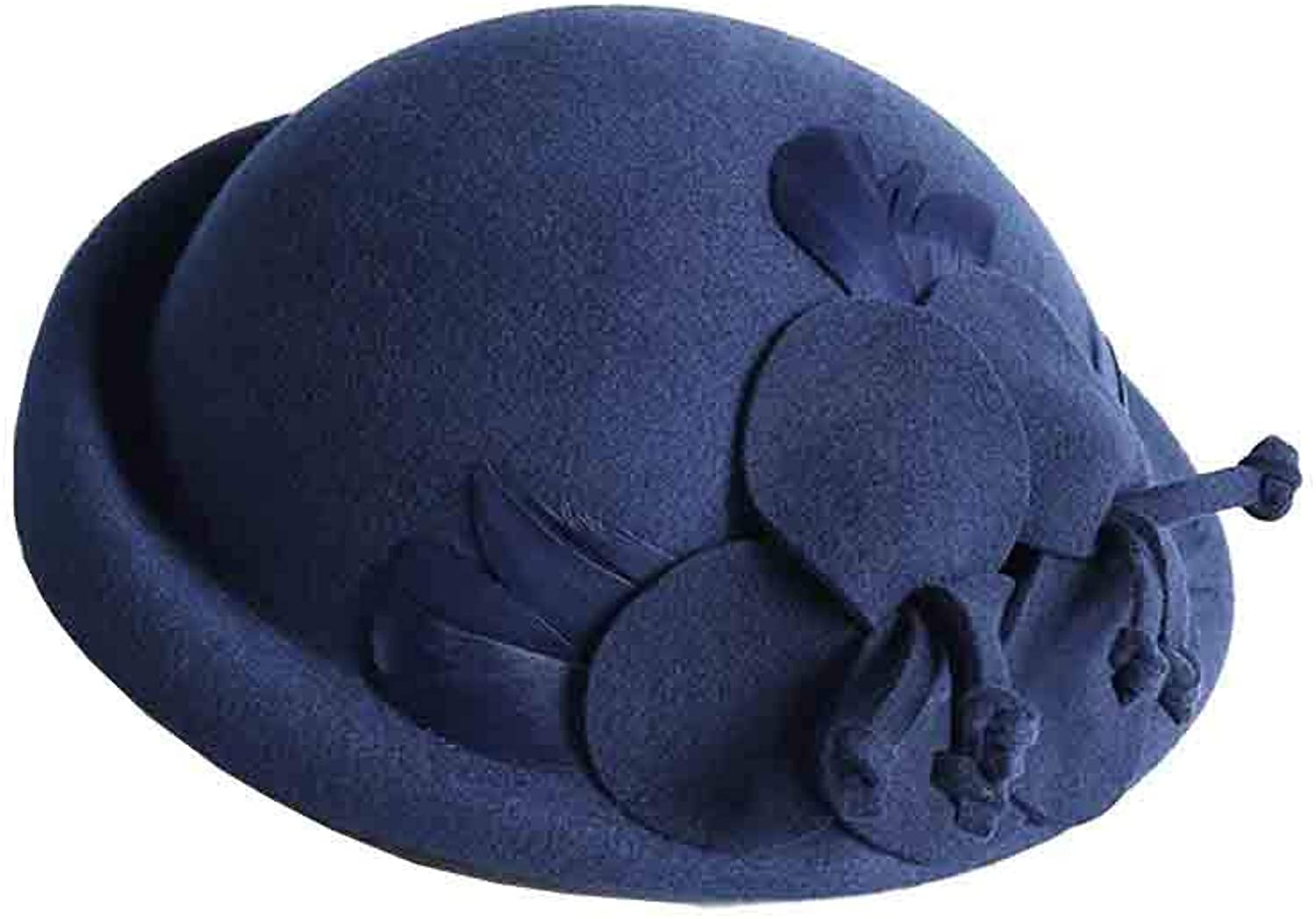 SUNNY Plain Small Topper Beret Hat ThreeDimensional Flower Feather Winter Autumn Women   Adjustable (color   Navy bluee)