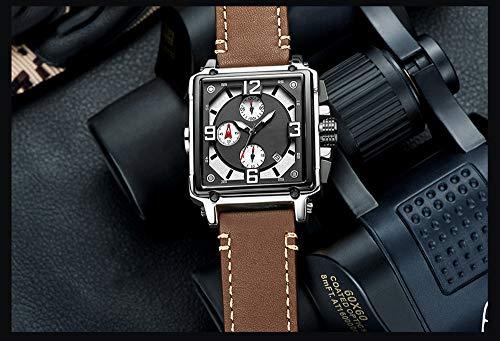 Voigoo Top Brand Kreative Entwurfs-Quadrat-Schwarz-Uhr-Mann-Quarz-Leder-beiläufige Sport-Armbanduhr Relogio Masculino