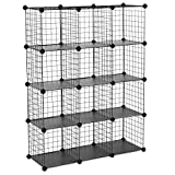 "SONGMICS Metal Wire Cube Storage,12-Cube Shelves Organizer,Stackable Storage Bins, Modular Bookcase, DIY Closet Cabinet Shelf, 36.6""L x 12.2""W x 48.4""H, Black"