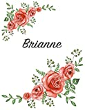 Brianne: Personalized Composition Notebook – Vintage Floral Pattern (Red Rose Blooms). College Ruled (Lined) Journal for School Notes, Diary, Journaling. Flowers Watercolor Art with Your Name