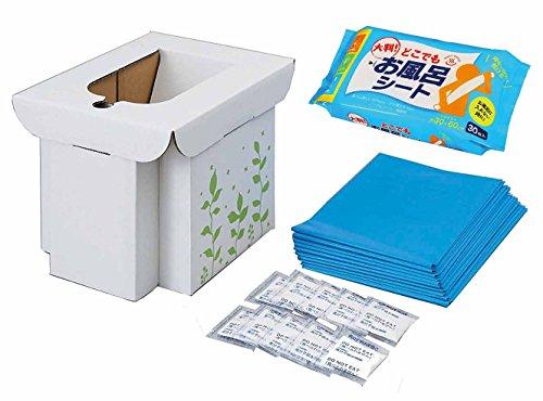 【セット買い】コジット 緊急用組み立て式トイレ + 大判 どこでもお風呂シート 30枚入 26465