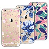 Smart Legend para Funda iPhone 6 Plus/iPhone 6S Plus Carcasa Transparente Silicona Funda de TPU Ultra Suave Case con Dibujo Animados Anti-Arañazos Caso iPhone 6 Plus/ 6S Plus - [3 Pack] Flores