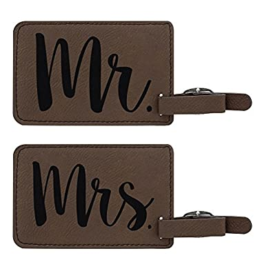 Luggage Tags for Couples Mr & Mrs Matching Couples Luggage Tags Couples Gifts for Newlyweds Anniversary Gifts 2-pack Laser Engraved Leather Luggage Tags Brown