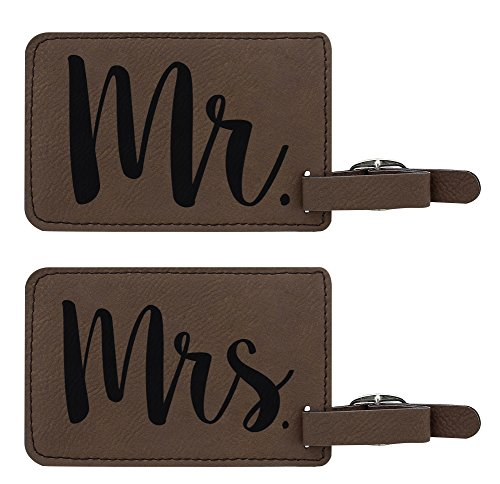 Luggage Tags Mr & Mrs Matching Couples Luggage Tags 2-Pack Laser Engraved Leatherette Luggage Tags Brown