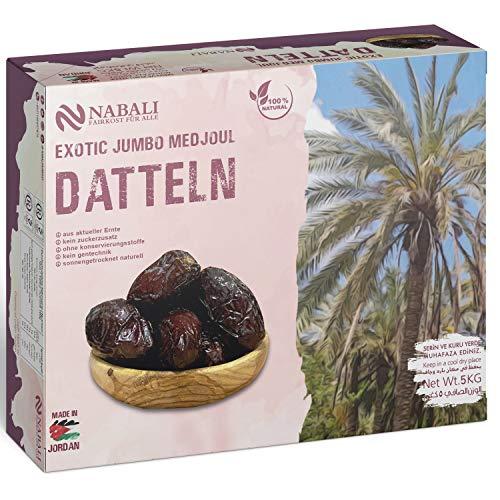 NABALI FAIRKOST FÜR ALLE Medjool Medjoul Datteln aus Jordanien - Grenzgebiet zur Palästina - 100% naturell saftig frisch & aus aktueller Ernte I ohne Schwefel (5KG)