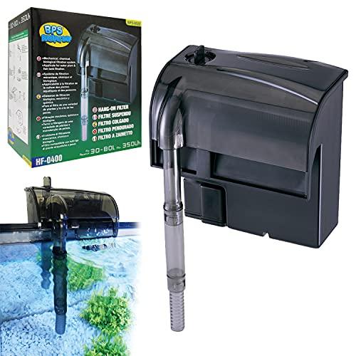 BPS (R) Filtro Acquario Professionale, Filtro Esterno a Zainetto per Acquario, Risparmio Energetico 4,4W, 350 l/h