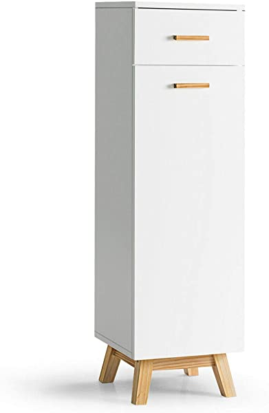 Tangkula Bathroom Floor Cabinet Wooden Stylish Multipurpose Cabinet With Two Adjustable Shelves And Single Sliding Drawer Durable Waterproof Free Standing Furniture White