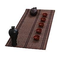 テーブルランナー 和風竹テーブルフラッグマット、巻き上げられたPlacematsティアミコーヒーティーテーブルクロス - コーヒーカラー - 30 / 60cm幅 (サイズ : 30cm×210cm)