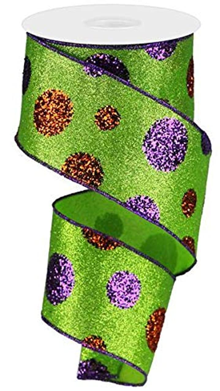 Giant Glitter Polka Dots Wired Edge Ribbon - 10 Yards (Lime, Purple, Orange, 2.5