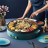 Elektrischer Grill Hot Pot, 220 V Koreanischer Grill Shabu Shabu Topf Antihaft-Pfanne Edelstahl Elektrischer Innengrill Shabu Pot Multi Kocher für zu Hause
