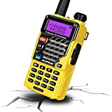 BAOFENG UV-5R+ Plus Two Way Radio, Long Range for Adults Rechargeable with Earpiece, Walkie Talkie for Outdoors, Qualette Series (Yellow)
