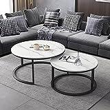 Mesa de centro de mármol, mesa nido, mesa central, mesa decorativa, mesa de diálogo, sala de estar/dormitorio/estudio/mesa redonda de oficina/C / 80cm